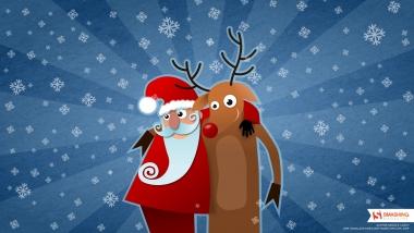 Мужская футболка 3D Дед мороз и олень