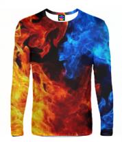 Мужская футболка с длинным рукавом 3D Битва огней