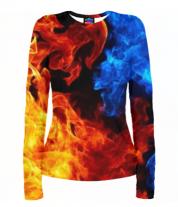 Женская футболка с длинным рукавом 3D Битва огней