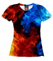 Женская футболка 3D Битва огней