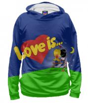 Толстовка худи 3D Love is