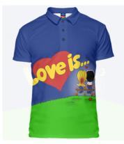 Футболка поло мужская 3D Love is