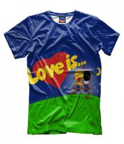 Мужская футболка 3D Love is