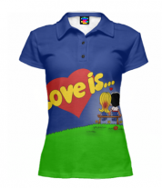 Футболка поло женская 3D Love is