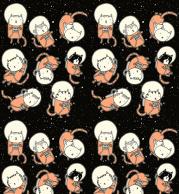 Женская футболка с длинным рукавом 3D Коты в космосе