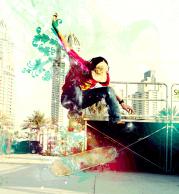 Мужская футболка с длинным рукавом 3D Скейтборд