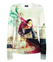 Женская футболка с длинным рукавом 3D Скейтборд