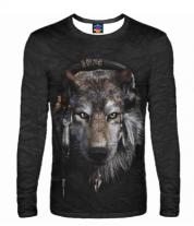 Мужская футболка с длинным рукавом 3D Волк