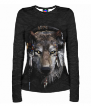 Женская футболка с длинным рукавом 3D Волк