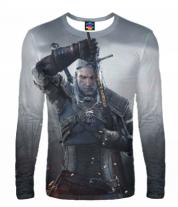 Мужская футболка с длинным рукавом 3D Ведьмак