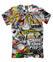 Мужская футболка 3D Стикеры
