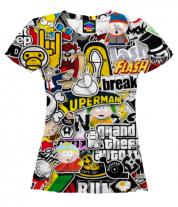 Женская футболка 3D Стикеры