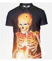 Футболка поло мужская 3D Скелет