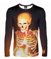 Мужская футболка с длинным рукавом 3D Скелет