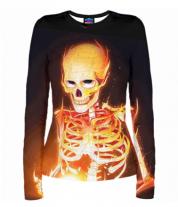 Женская футболка с длинным рукавом 3D Скелет