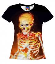 Женская футболка 3D Скелет
