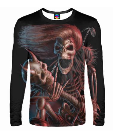 Мужская футболка с длинным рукавом 3D Скелет с гитарой