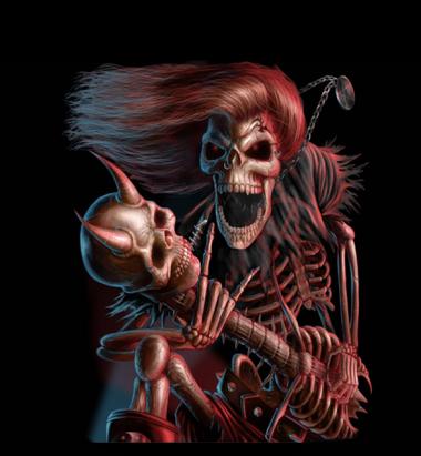 Футболка поло женская 3D Скелет с гитарой
