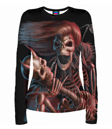 Женская футболка с длинным рукавом 3D Скелет с гитарой