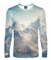Мужская футболка с длинным рукавом 3D Вершины гор