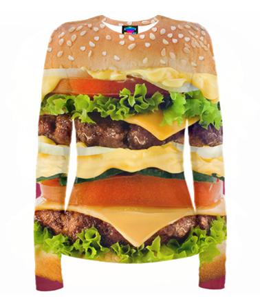 Женская футболка с длинным рукавом 3D Бургер