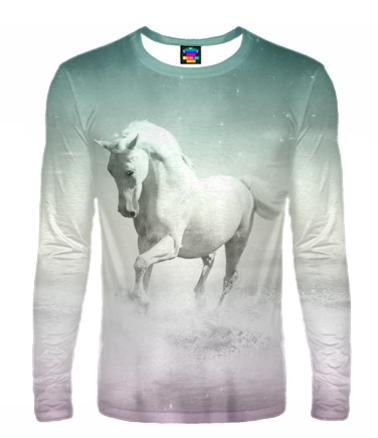 Мужская футболка с длинным рукавом 3D Лошадь