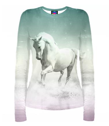 Женская футболка с длинным рукавом 3D Лошадь