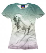 Женская футболка 3D Лошадь