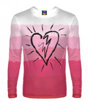 Мужская футболка с длинным рукавом 3D Сердце