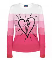 Женская футболка с длинным рукавом 3D Сердце